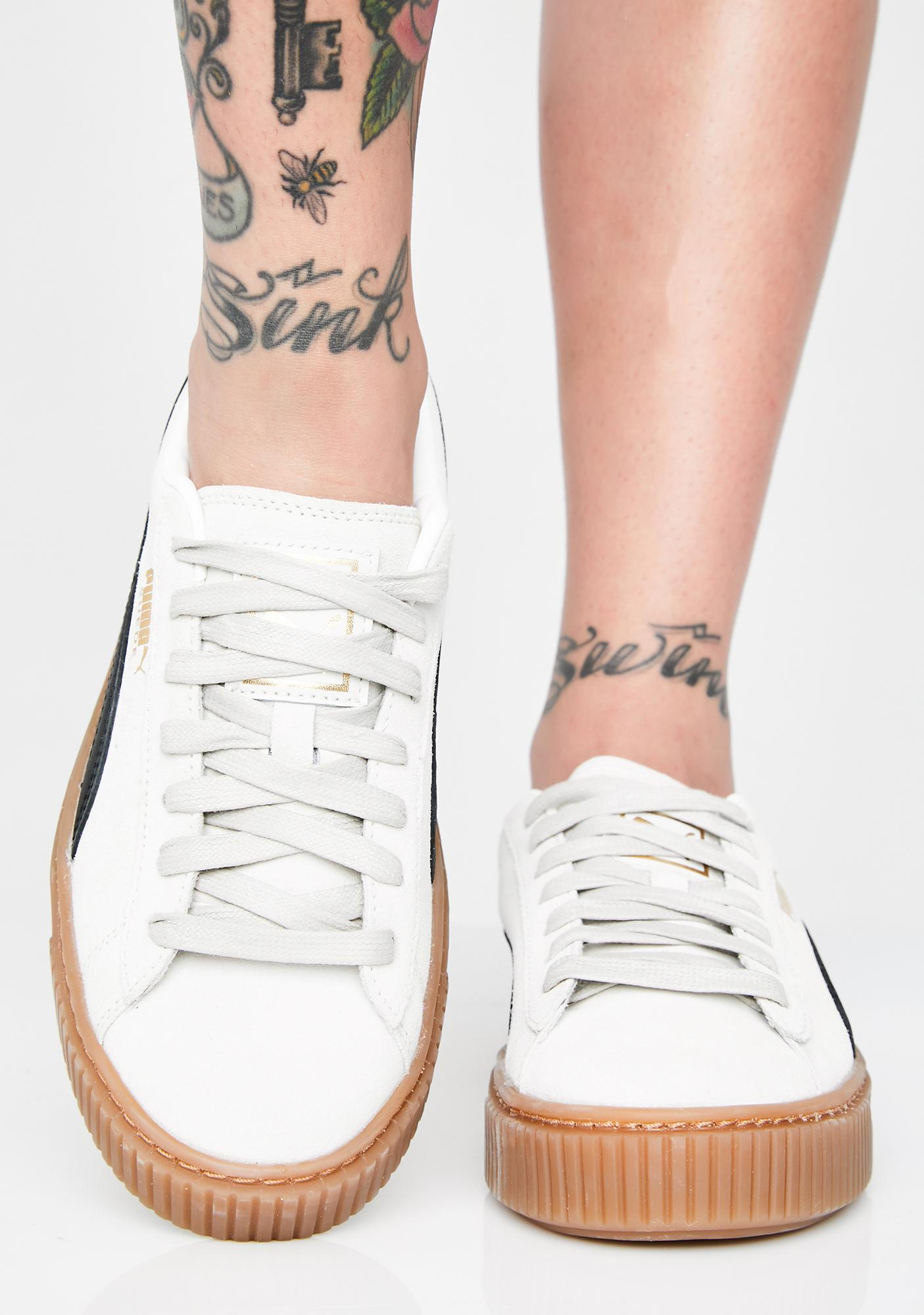 PUMA Whisper White Suede Platform Core Sneakers