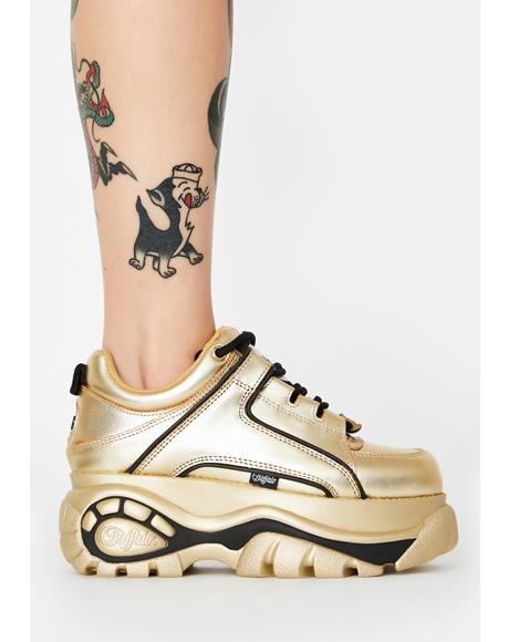Gold Metallic Classic Low Leather Sneakers