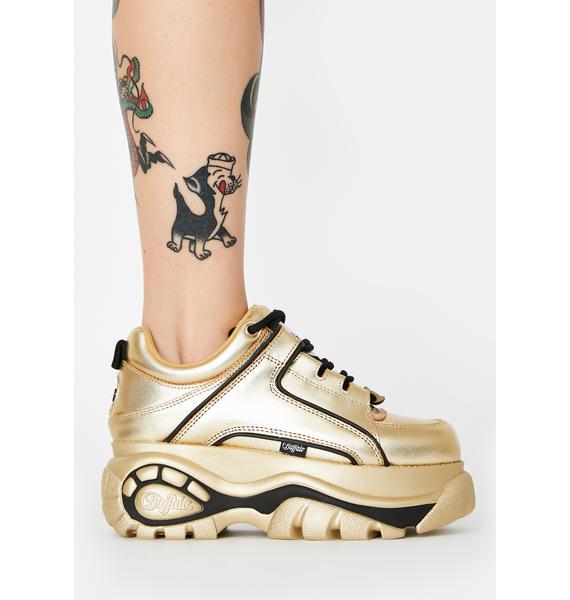 Buffalo London Gold Metallic Classic Low Leather Sneakers