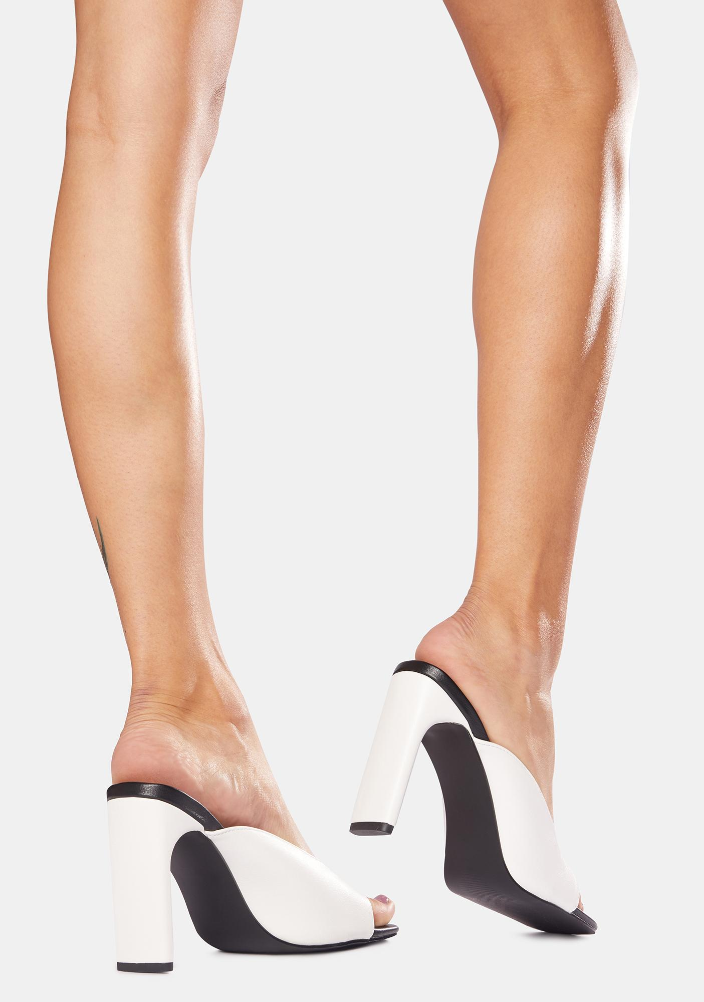 Public Desire Abelle Mono Square Toe High Heels