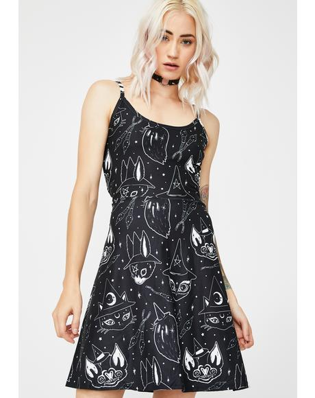 Witchy Animals Lolle Ginger Skater Dress