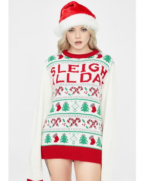 Sleigh All Day Christmas Sweater