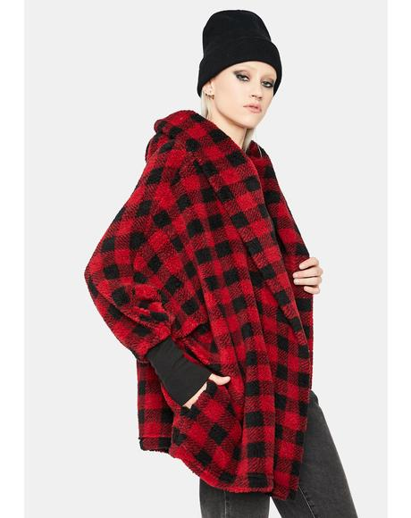 Two Thumbs Up Plaid Teddy Coat