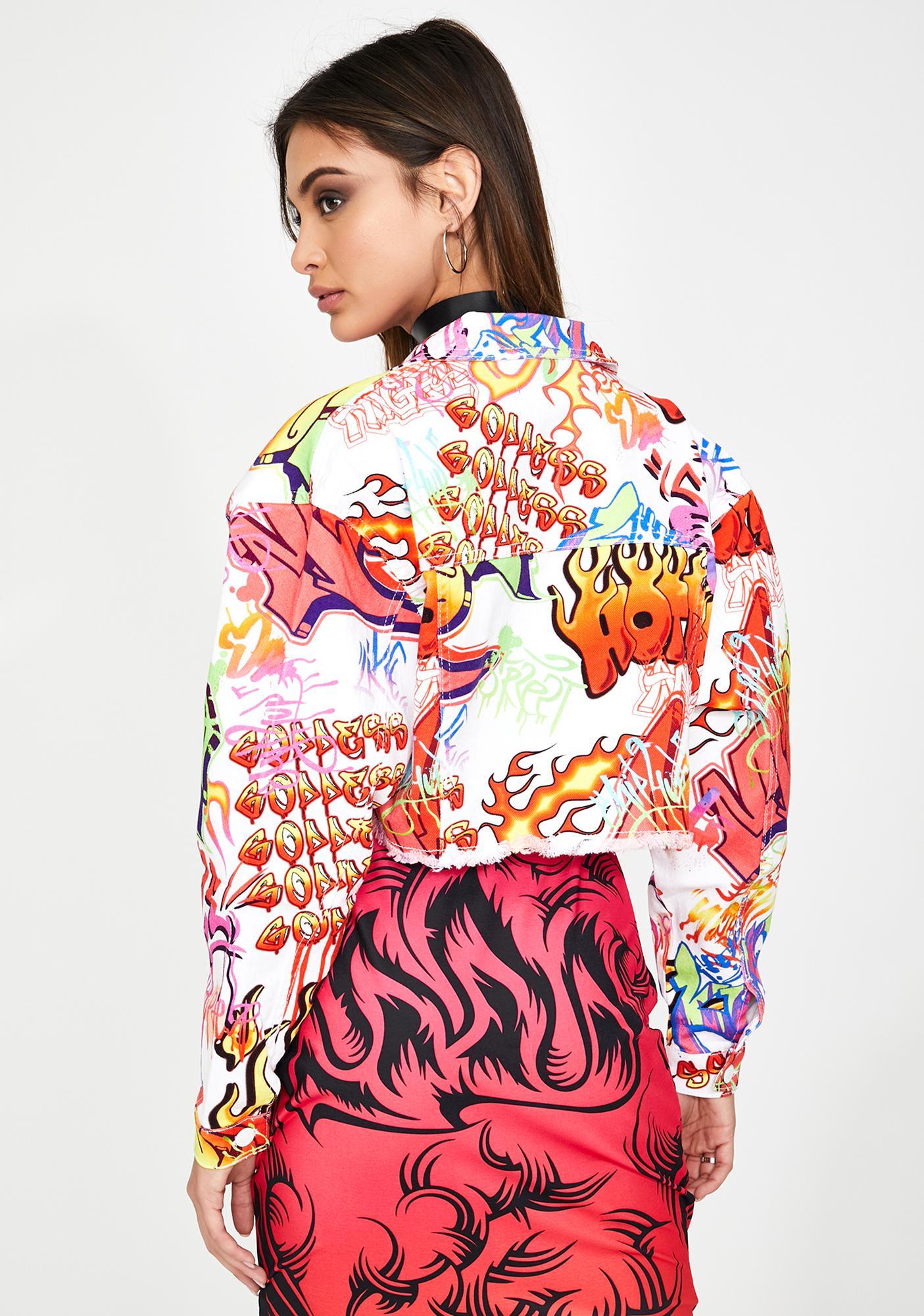 Jaded London White Graffiti Print Crop Denim Jacket