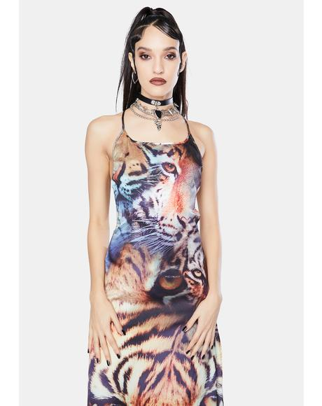 Tiger Print Satin Tie Back Maxi Dress