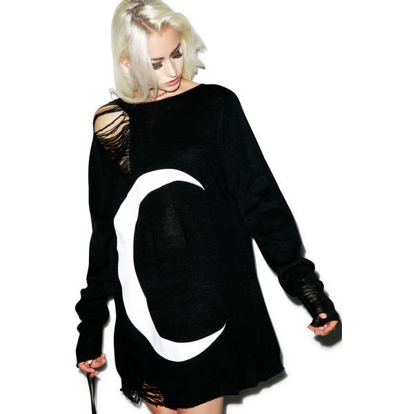 Killstar Luna Distressed Knit Sweater