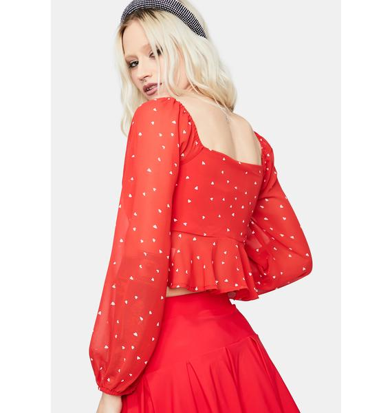 Hello Dolly Puff Sleeve Polka Dot Blouse
