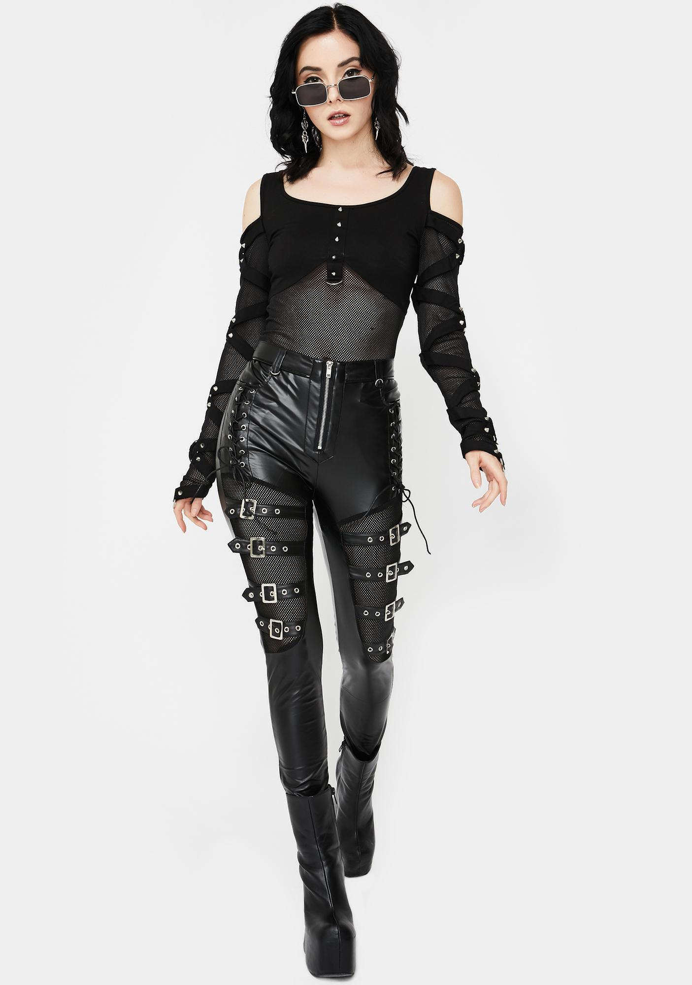 Devil Fashion Buckle Lace-Up Skinny Pants