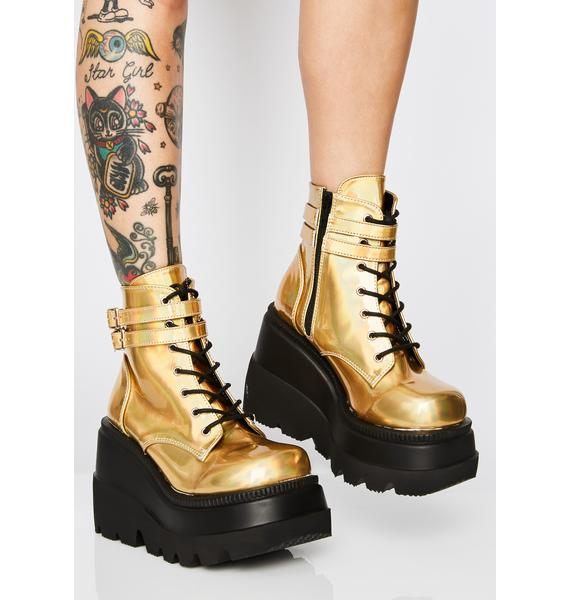 Demonia Liquid Gold Technopagan Boots