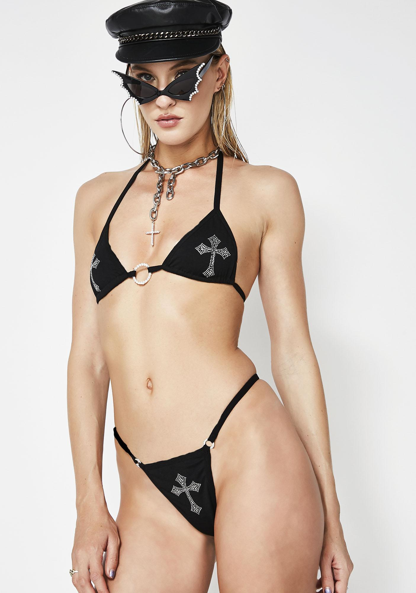 Poster Grl Pray For Me Cross Lingerie Set