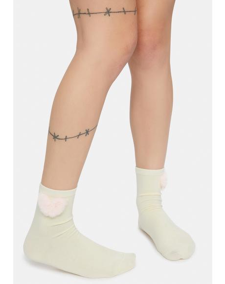 Sending My Love Heart Pom Pom Socks