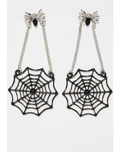 Web Of Lies Spider Earrings
