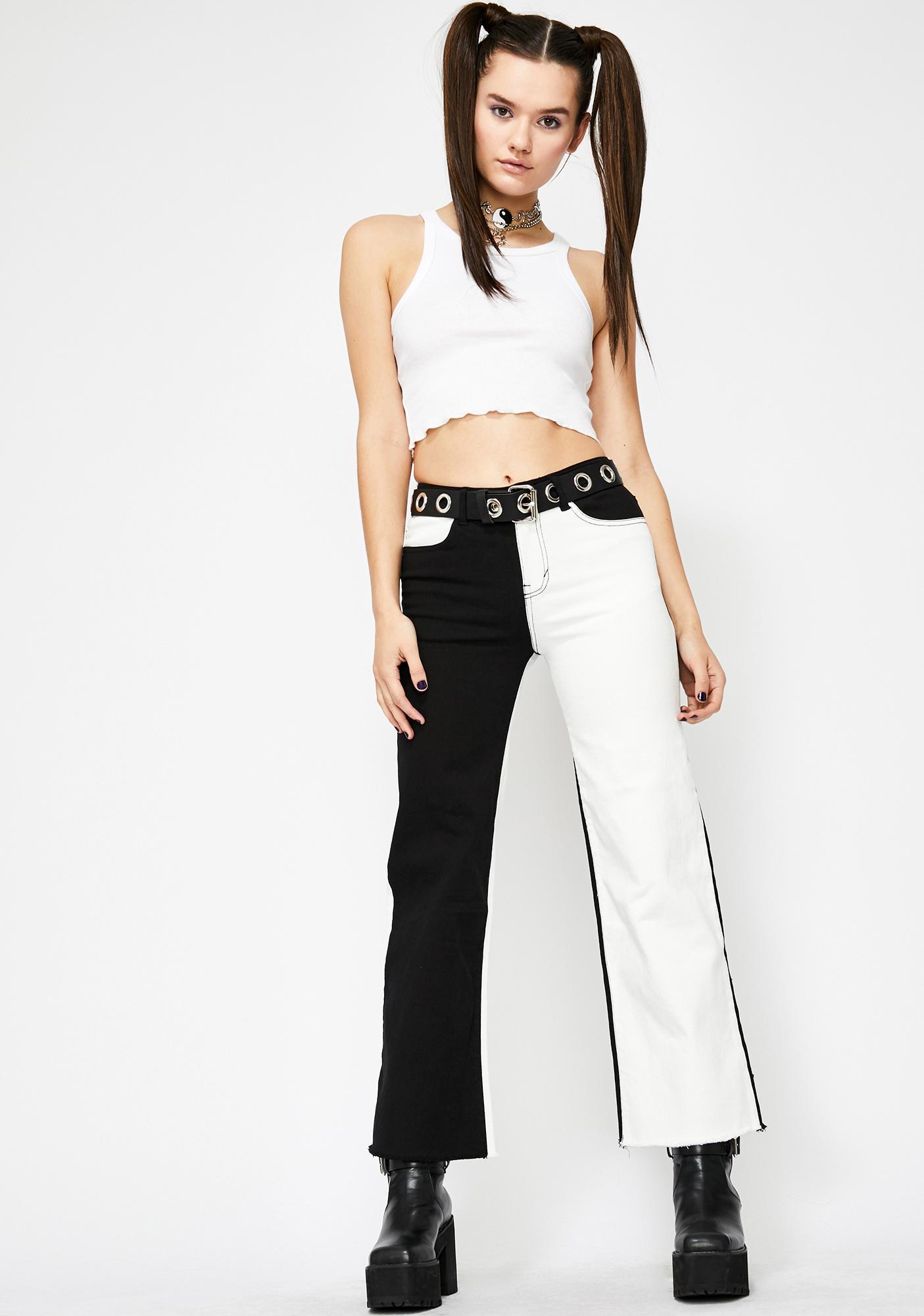 HOROSCOPEZ Monochrome Soul Wide Leg Jeans
