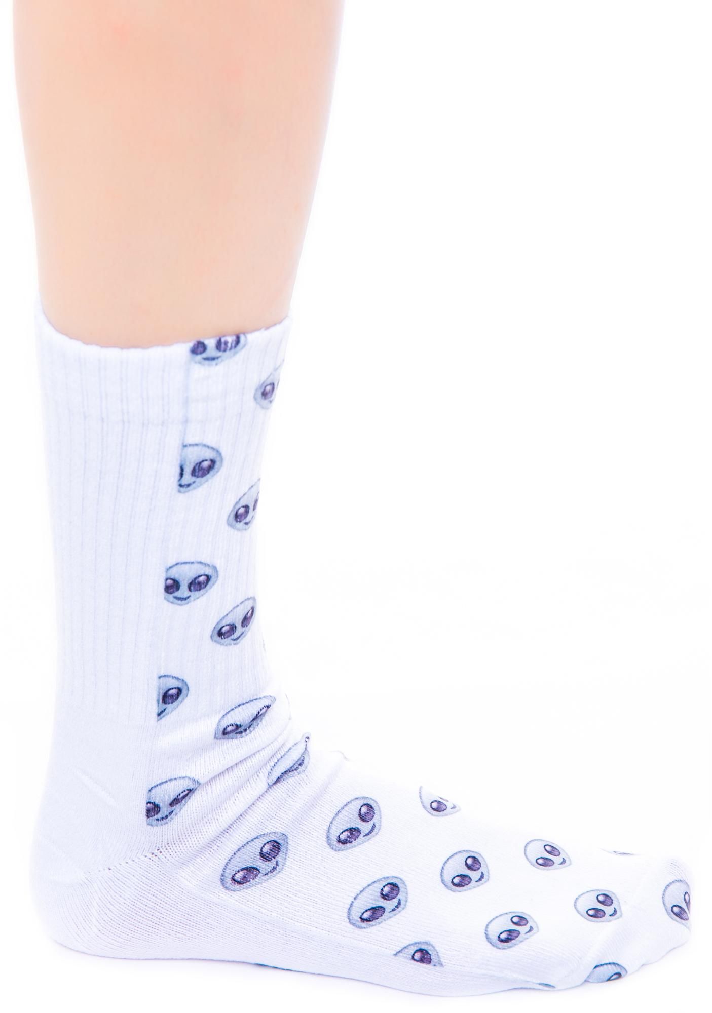 O Mighty Alien Emoji Socks
