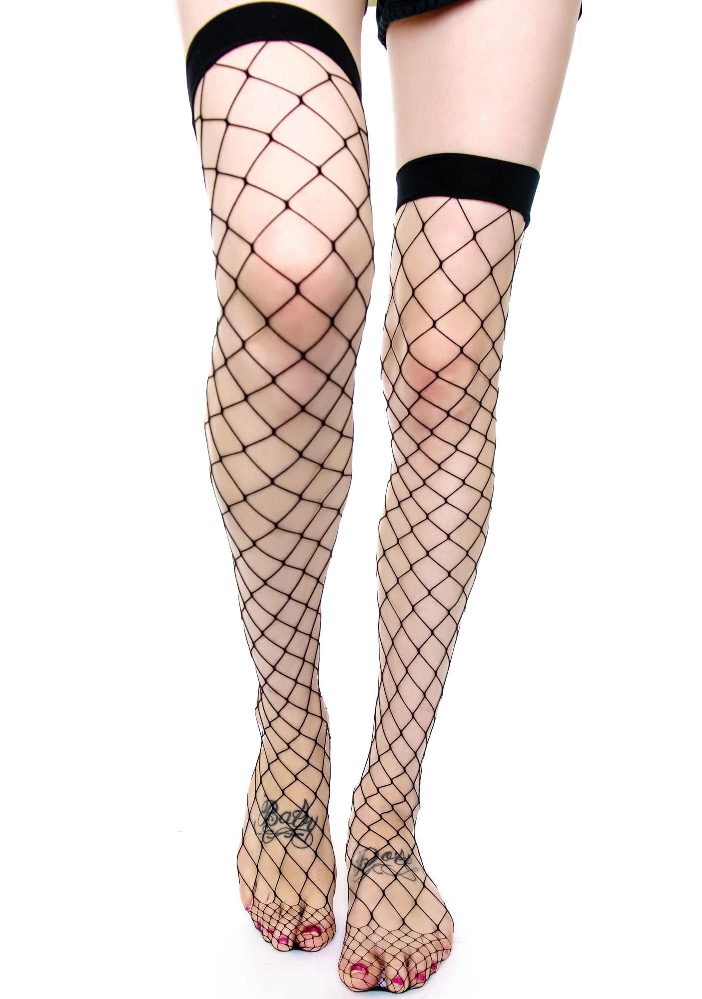 Lip Service Fence Net Thigh High Tights