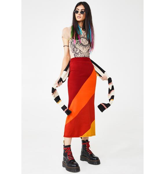 Honey Punch Wind In Ur Sailz Midi Skirt