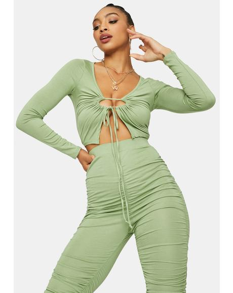 Sage Know My Value Ruched Pants Set