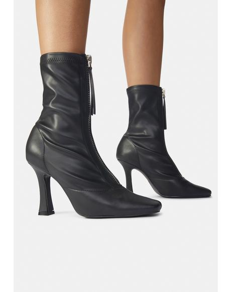 Black Peppa Zip Up Ankle Boots