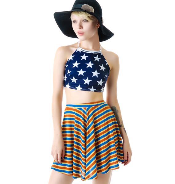 Mizz Patriotic Striped Skater Skirt