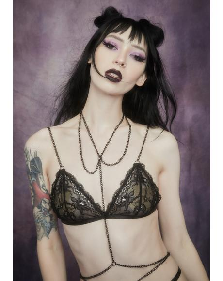 Noir Outta My Shell Chain Bralette
