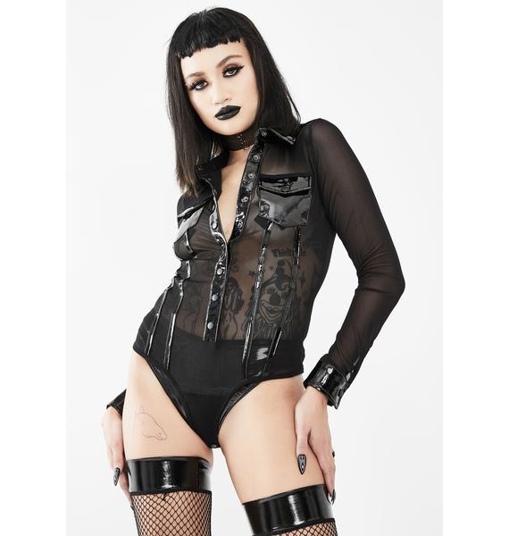 Devil Fashion Front Pockets Mesh Bodysuit