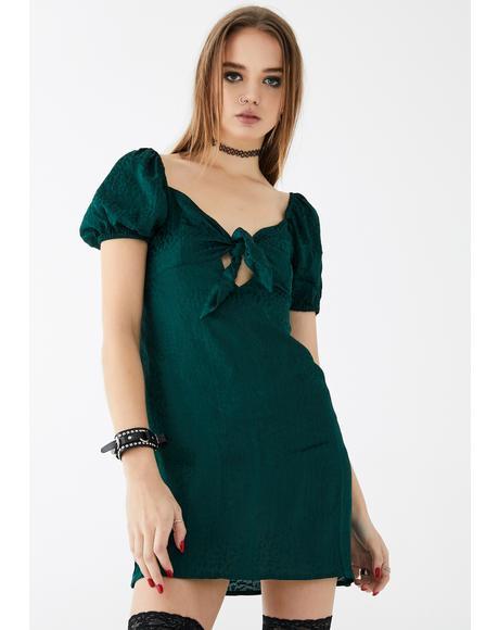 Cheetah Forest Green Ropele Dress