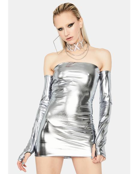 Silver Runway Ready Mini Dress