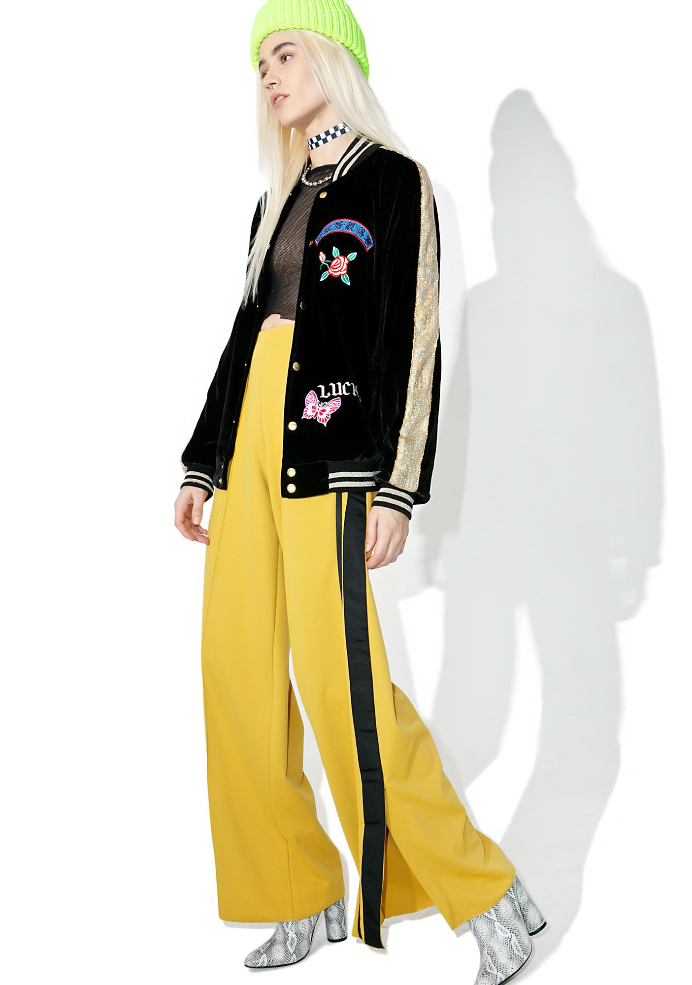 Jaded London Embroidered Velvet & Sequin Bomber Jacket