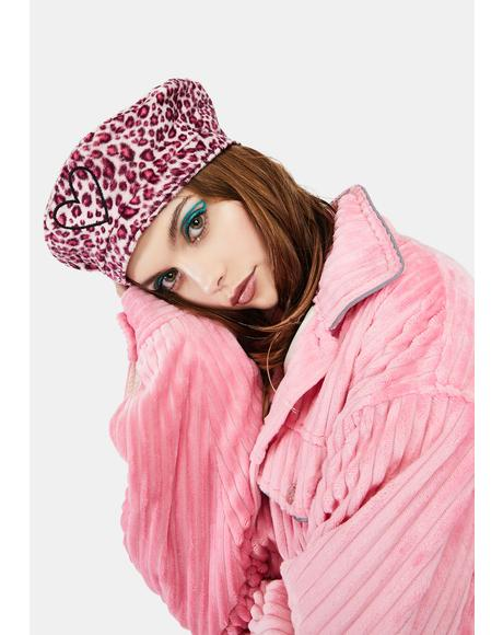 Bubblegum Kitty Love Faux Fur Beret