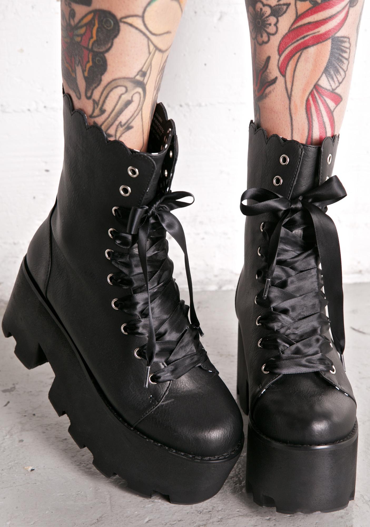 Black Satin Laces Combat Boots