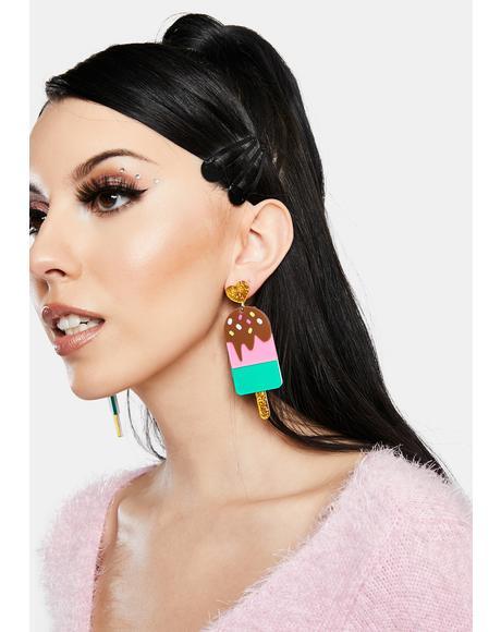 Banana Glitz Glitter Ice Cream Earrings