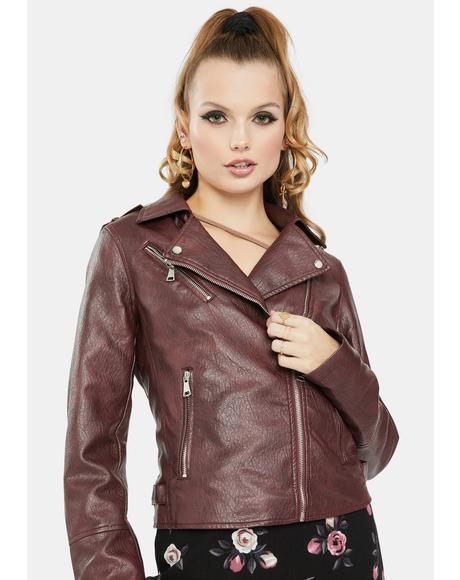 Burgundy Vegan Leather Moto Jacket