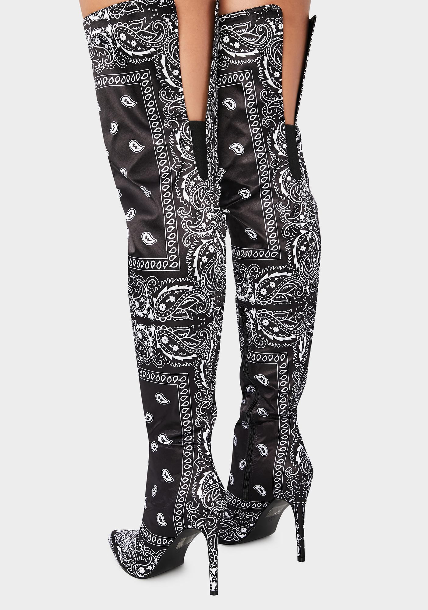 Bad Attitude Bandana Print Knee High Boots