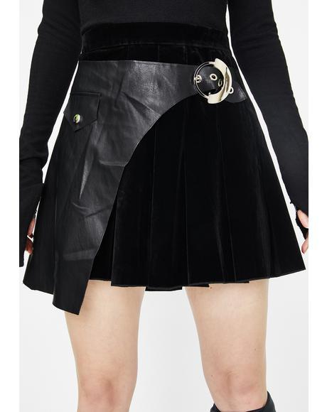 Pleated Stitching Half Skirt