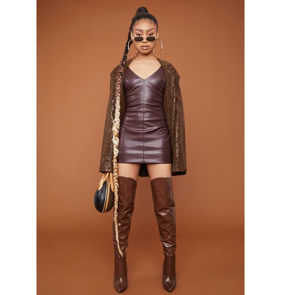 Cocoa Open Your Eyes Faux Leather Mini Dress