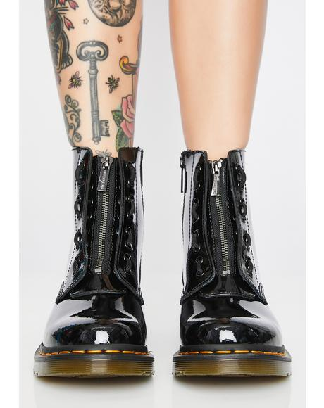 1460 Pascal Front Zip Patent Boots
