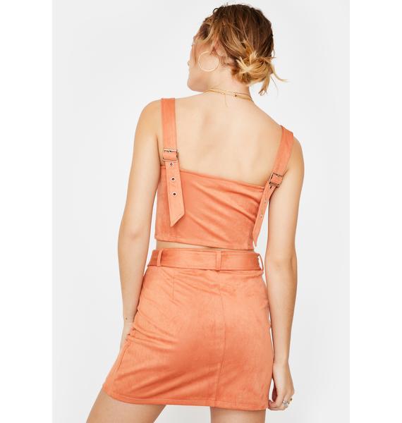 Honey Punch Salmon Zip Mini Skirt