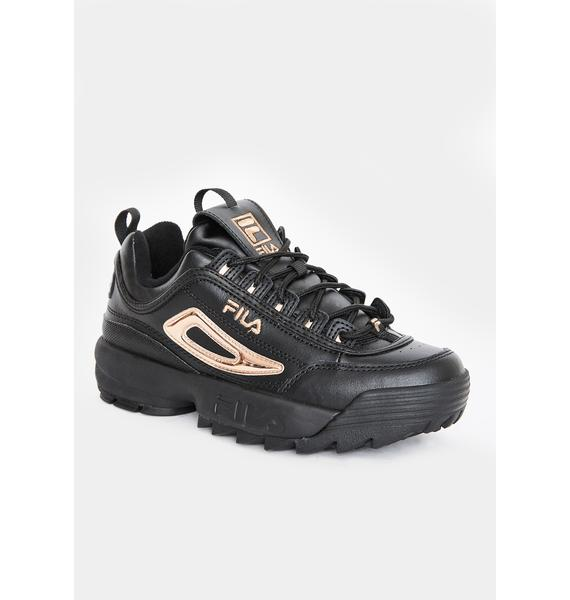 Fila Black Disruptor 2 Metallic Accent Sneakers