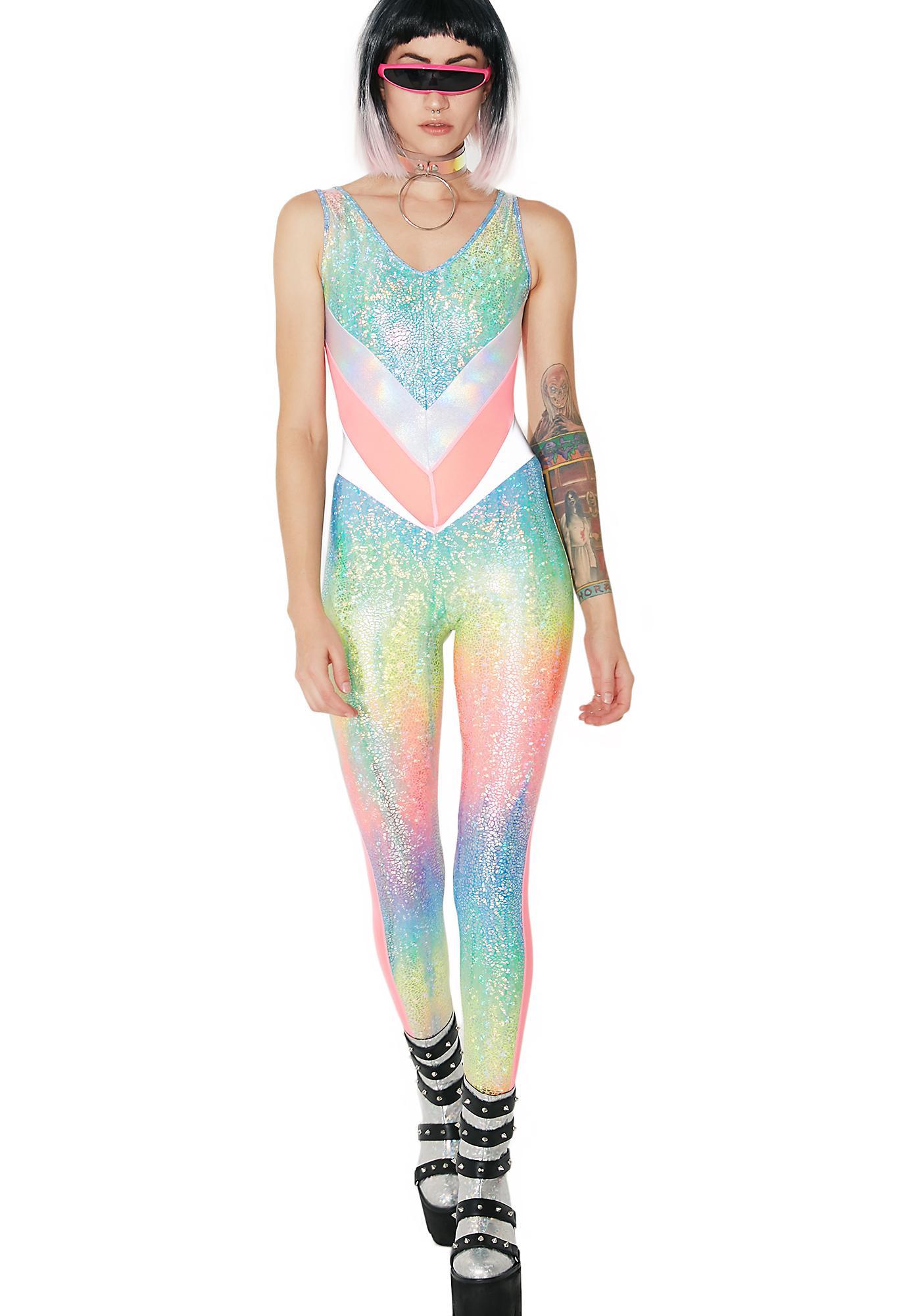 Burnt Soul Rainbow Jewel Peekaboo Catsuit