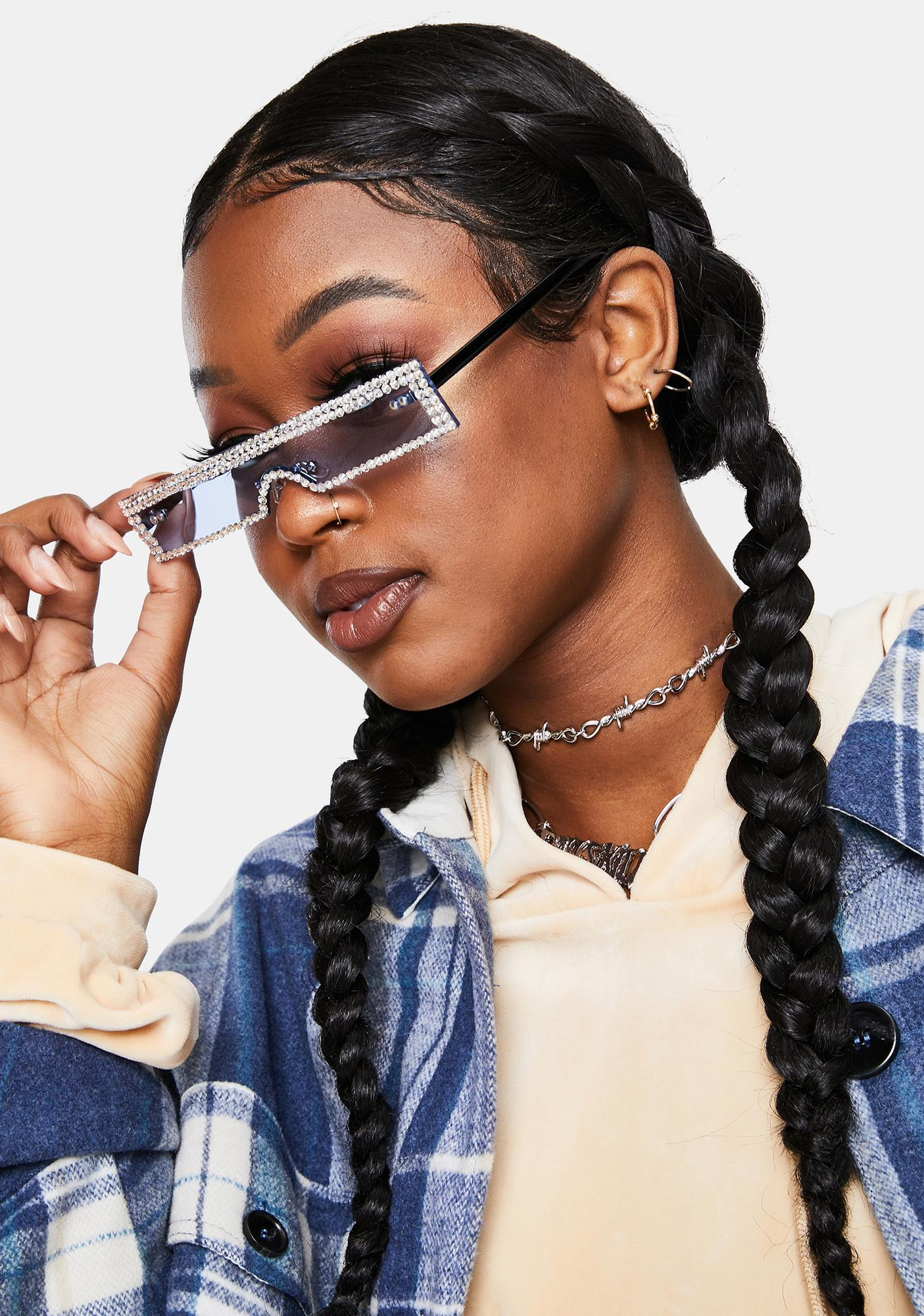 Sky Into The Future Slim Rhinestone Sunglasses