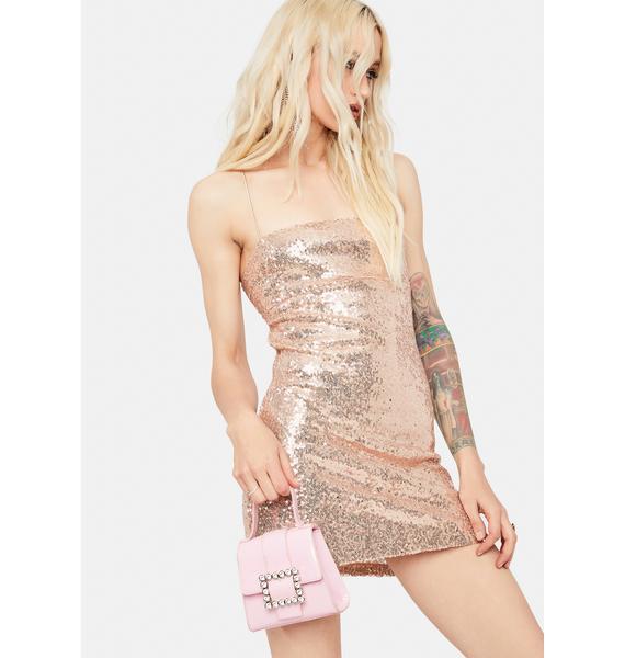 Glamorous Gold Sequin Lace-Up Back Mini Dress