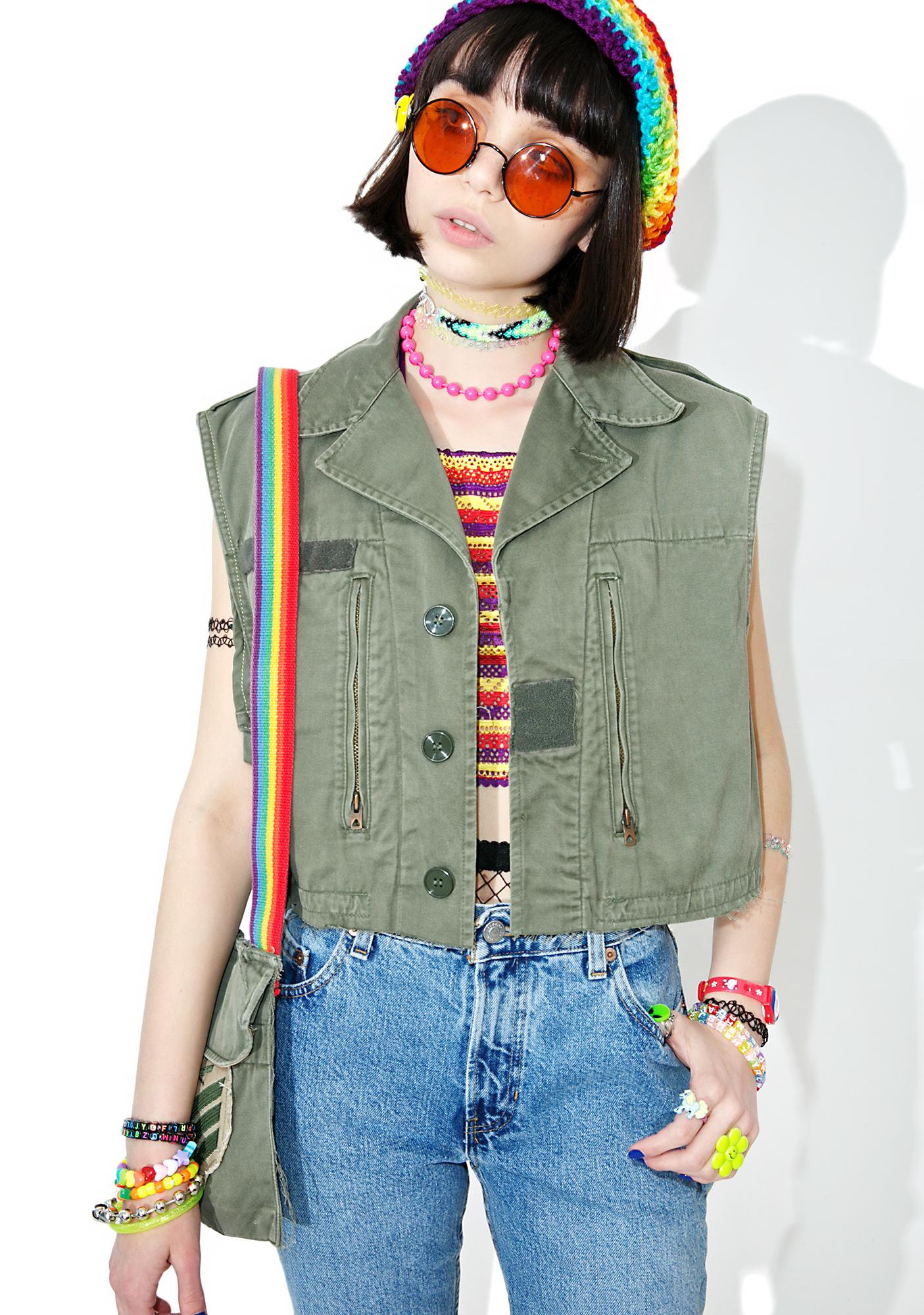 Vintage Deconstructed Army Vest