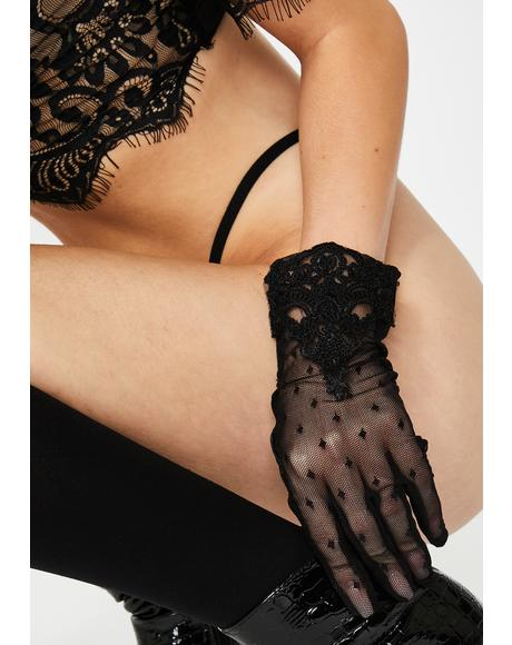 Guipure Dotted Lace Gloves