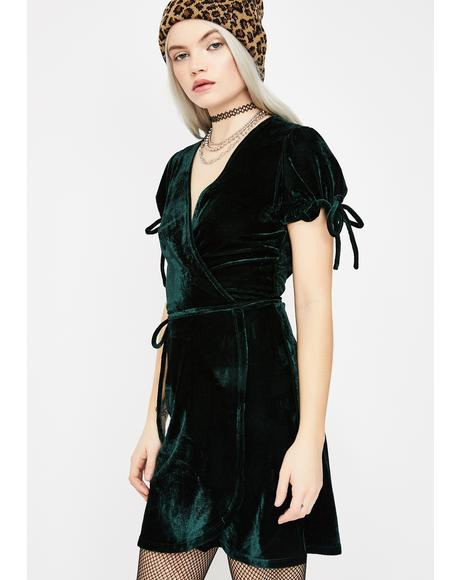 Lucky Chance Velour Wrap Dress