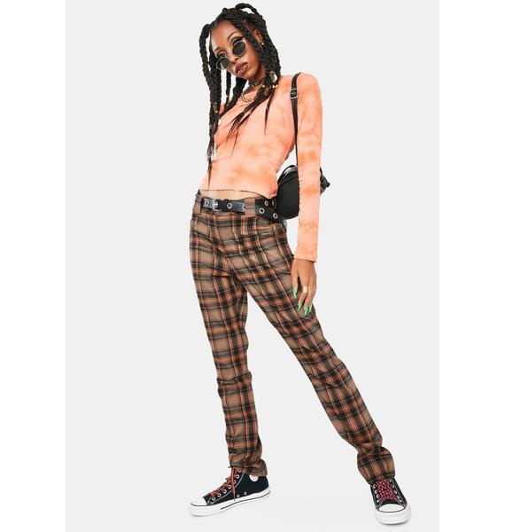 Dickies Girl Auburn Black Plaid Pants