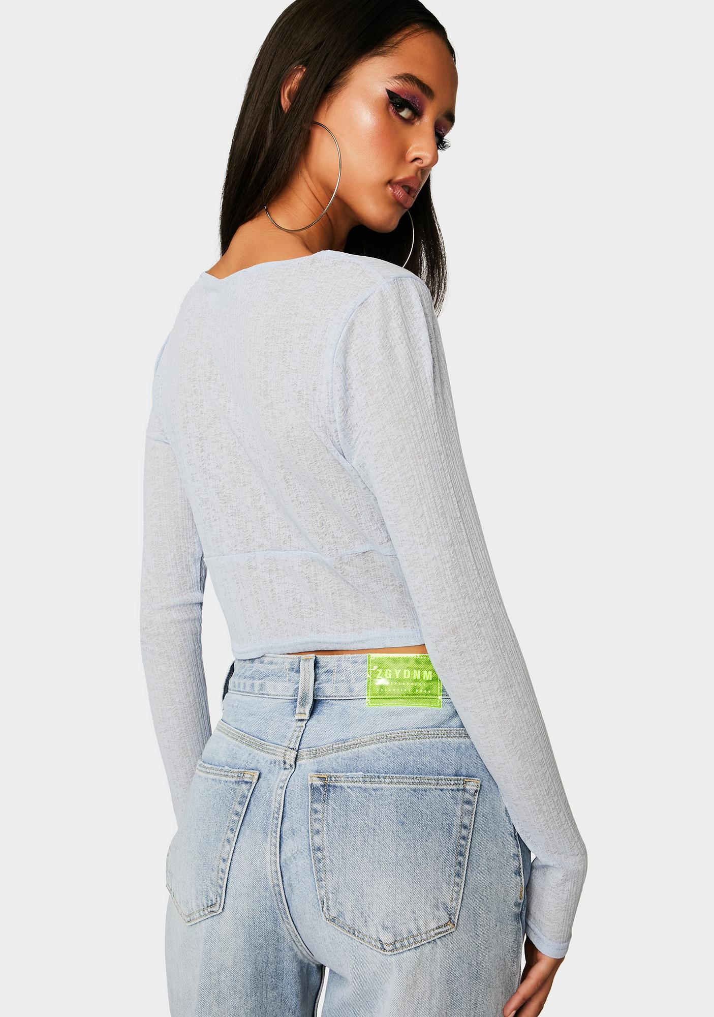 Twiin Out Of Here Mesh Long Sleeve Top