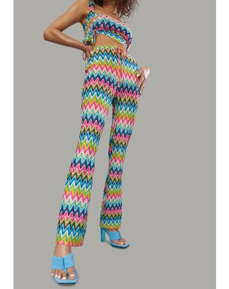 Wavy Thoughts Stitch Knit Flare Pants