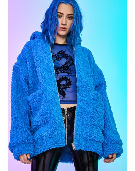 Azure Blissful Misery Teddy Hoodie