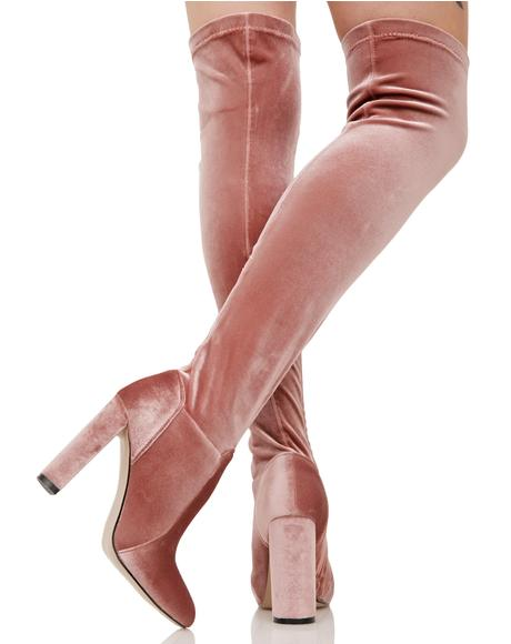 Everlasting Blush Velvet Thigh-High Boots