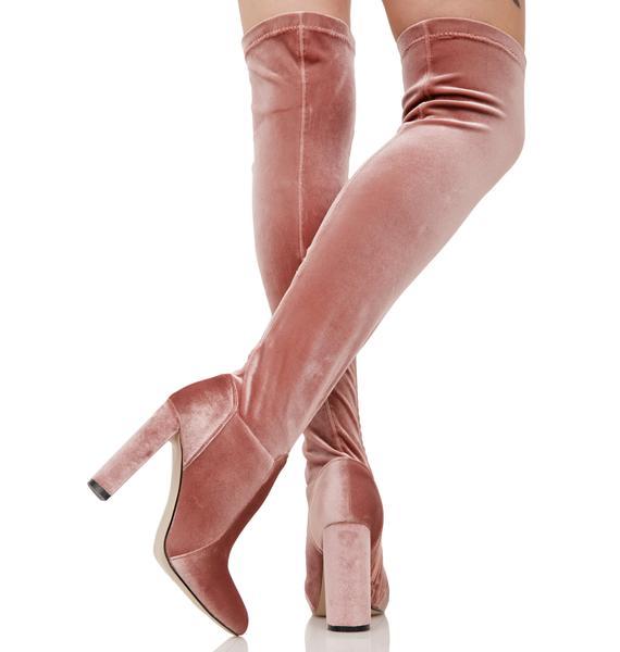 Glamorous Everlasting Blush Velvet Thigh-High Boots